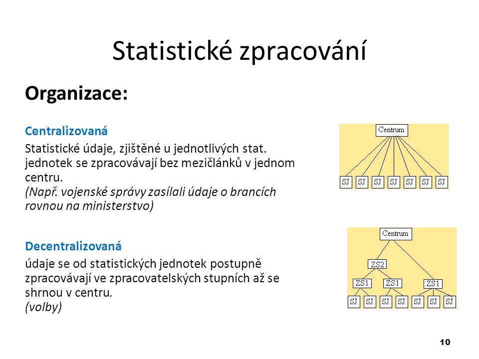 10 Statistické zpracování Organizace: Centralizovaná Statistické údaje, zjištěné u jednotlivých stat. jednotek se zpracovávají bez mezičlánků v jednom