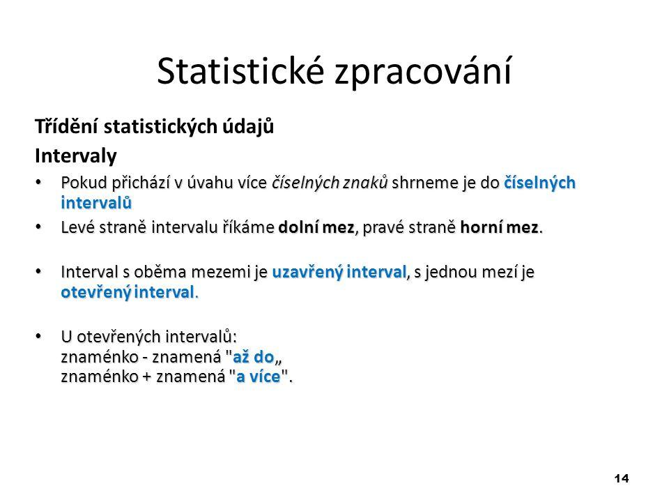 14 Statistické zpracování Třídění statistických údajů Intervaly Pokud přichází v úvahu více číselných znaků shrneme je do číselných intervalů Pokud př