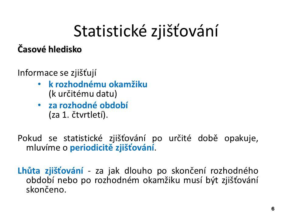6 Statistické zjišťování Časové hledisko Informace se zjišťují k rozhodnému okamžiku (k určitému datu) za rozhodné období (za 1. čtvrtletí). Pokud se