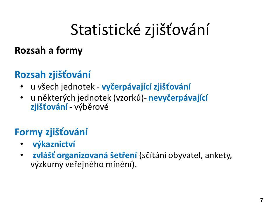 7 Statistické zjišťování Rozsah a formy Rozsah zjišťování u všech jednotek - vyčerpávající zjišťování u některých jednotek (vzorků)- nevyčerpávající z