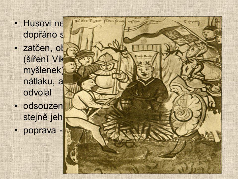 Kostnický koncil 1414 - 1417 svolán římským králem Zikmundem Lucemburským, aby vyřešil papežské schizma (3 papežové) vedlejší problém: vyřešit Husovo