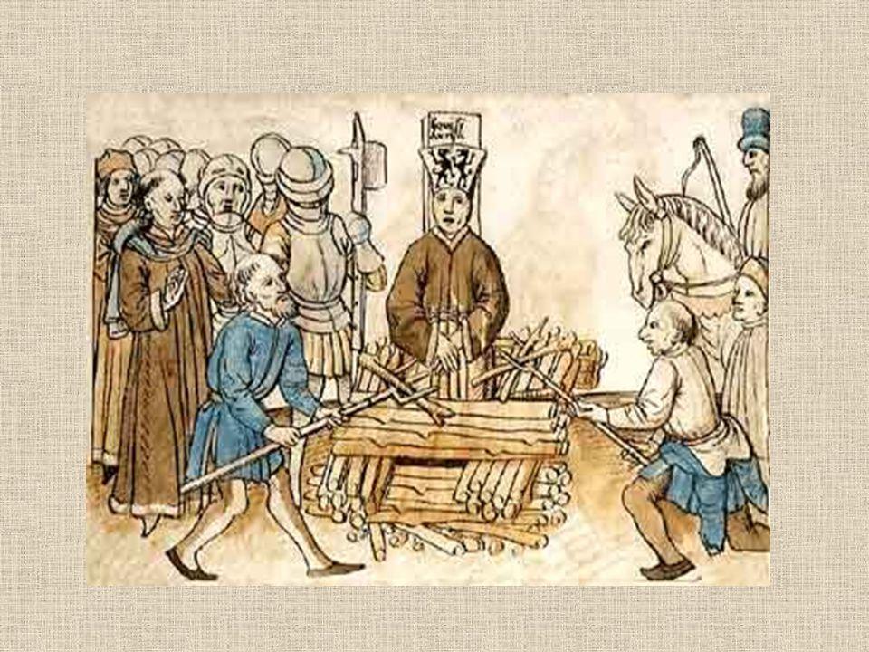 vyzván ještě na hranici, aby odvolal popel vhozen do řeky Rýn katolická církev - snaha smazat stopy po Husovi - nezachována jeho podoba 30. 5. 1416 -