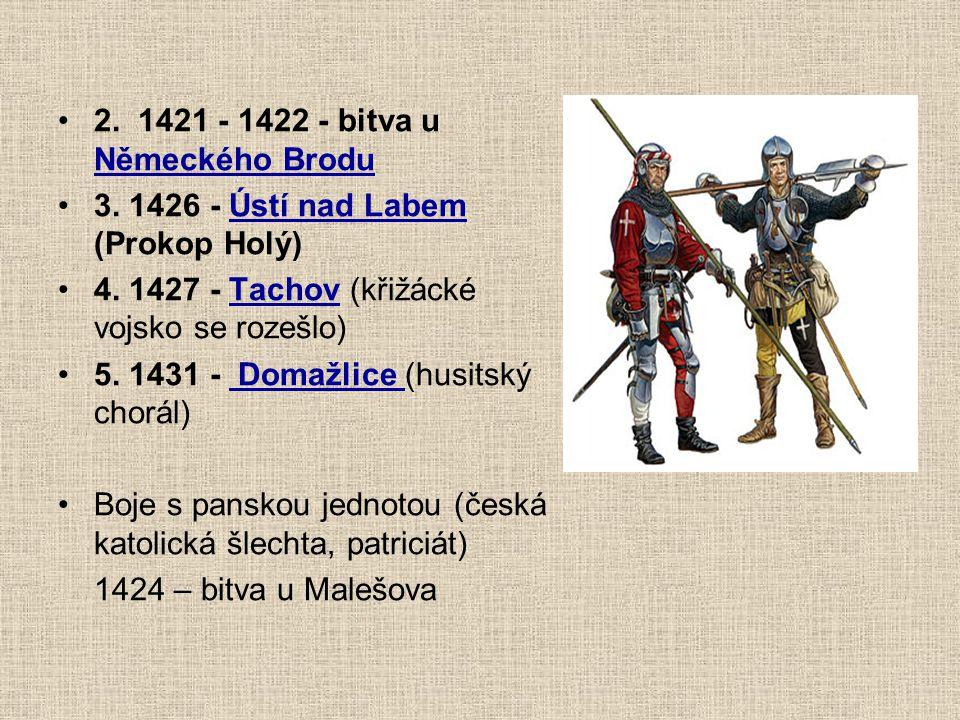 5 křížových výprav proti husitům 1. léto 1420 - bitva na hoře Vítkov (14. 7.) - velké vojsko útočící z Karlína odrazila hrstka husitů ve dřevěném srub