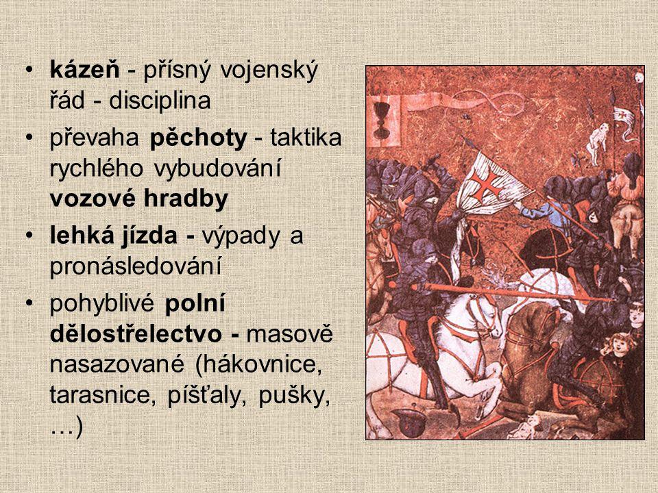 Válečné umění husitů Husitští hejtmané - velké válečnické zkušenosti (mnoho z nich původně chudí šlechtici bojující za žold, případně lapkové, např. Ž