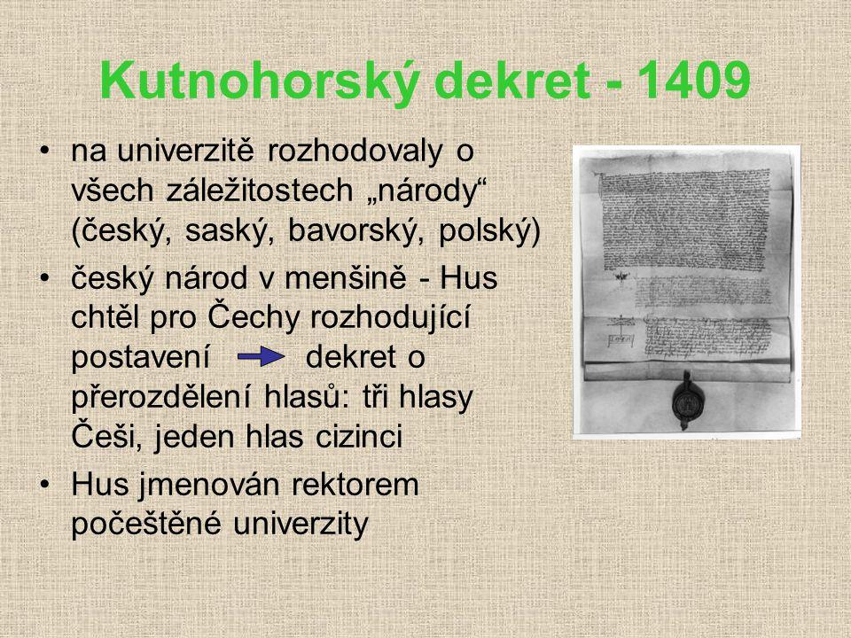 Jan Hus (1371 – 1415) univerzitní mistr populární kazatel v Betlémské kapli (kázal česky) zastánce Wyclifových názorů podpora krále Václava IV. prosad