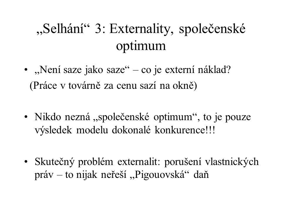 """""""Selhání 3: Externality, společenské optimum """"Není saze jako saze – co je externí náklad."""