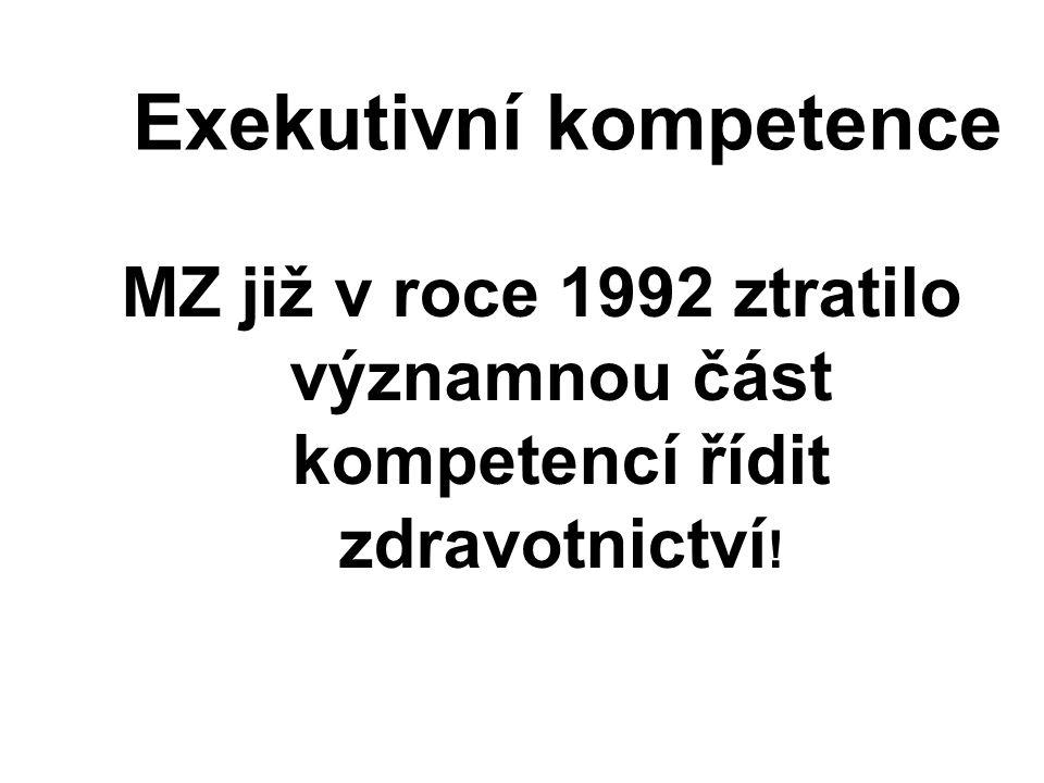 Exekutivní kompetence MZ již v roce 1992 ztratilo významnou část kompetencí řídit zdravotnictví !