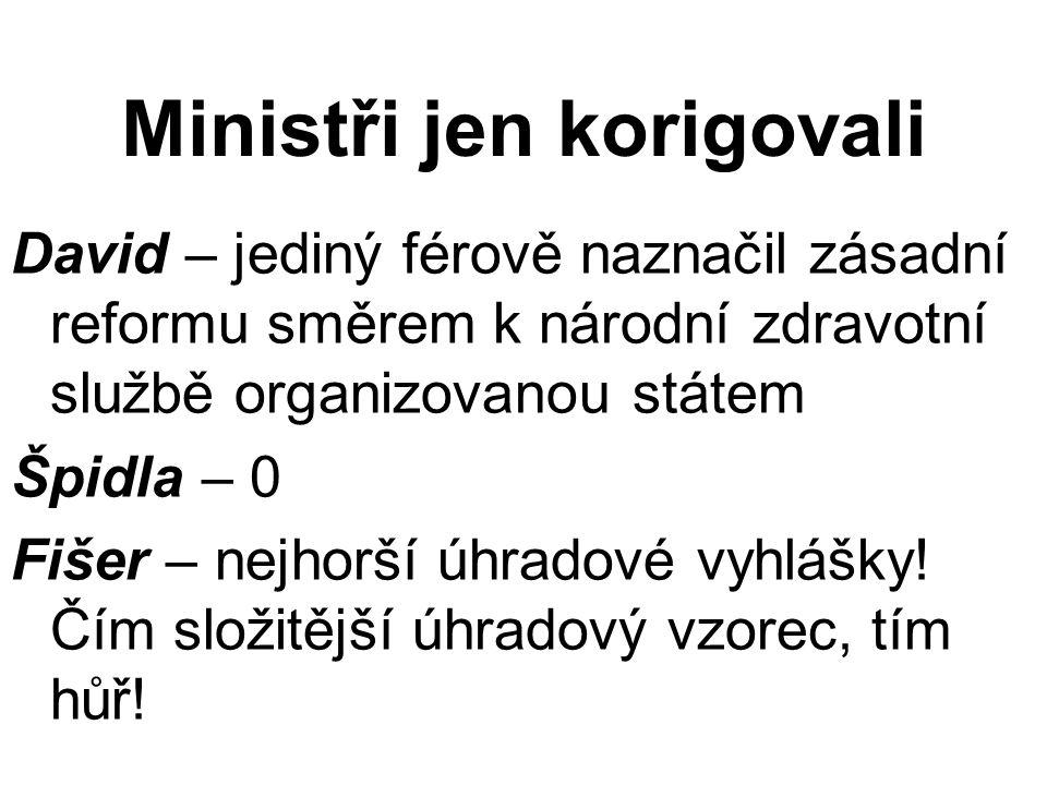 Ministři jen korigovali David – jediný férově naznačil zásadní reformu směrem k národní zdravotní službě organizovanou státem Špidla – 0 Fišer – nejho