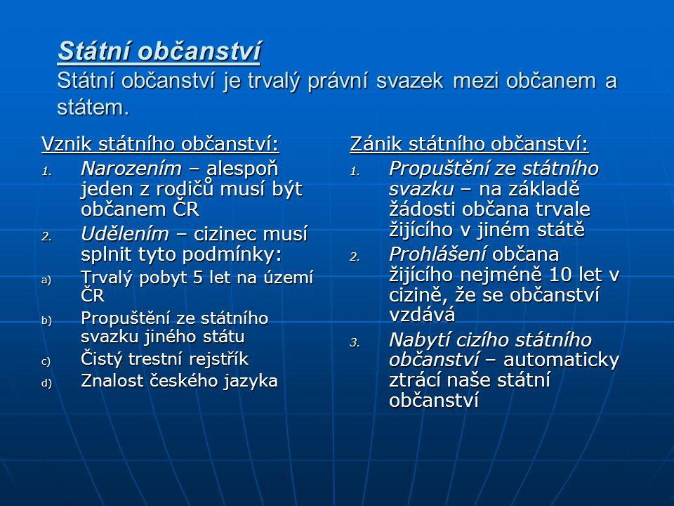 Státní občanství Státní občanství je trvalý právní svazek mezi občanem a státem.