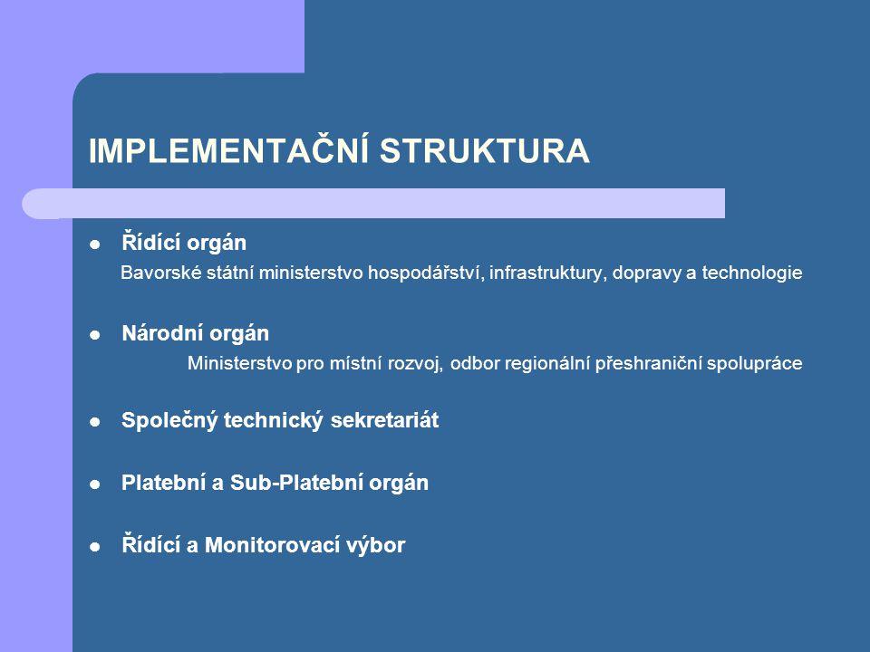 IMPLEMENTAČNÍ STRUKTURA Řídící orgán Bavorské státní ministerstvo hospodářství, infrastruktury, dopravy a technologie Národní orgán Ministerstvo pro místní rozvoj, odbor regionální přeshraniční spolupráce Společný technický sekretariát Platební a Sub-Platební orgán Řídící a Monitorovací výbor