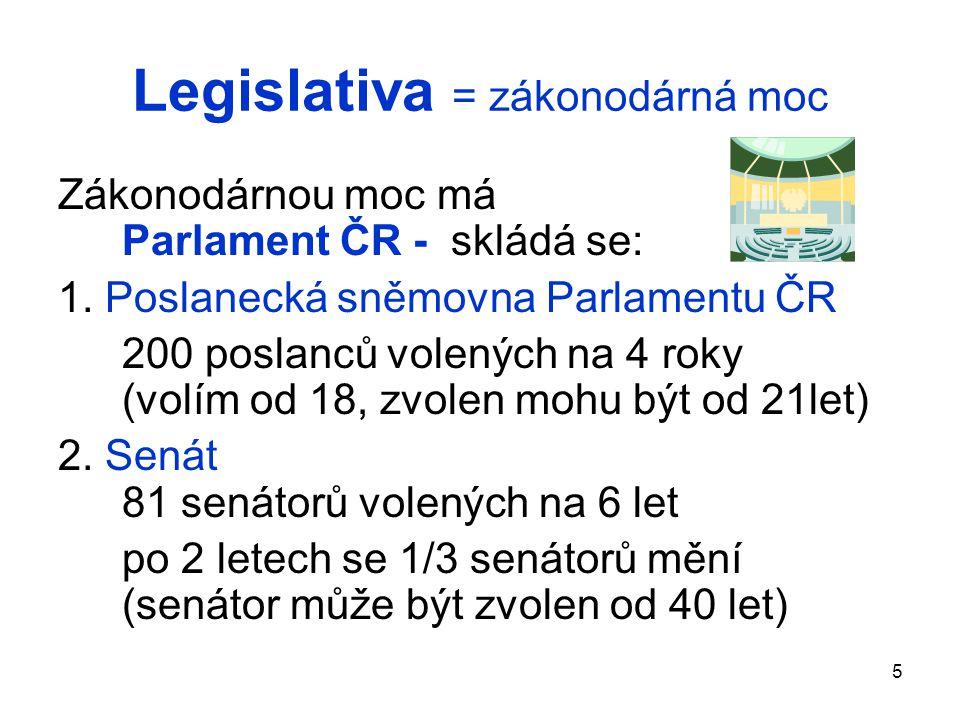 Legislativa = zákonodárná moc Zákonodárnou moc má Parlament ČR - skládá se: 1. Poslanecká sněmovna Parlamentu ČR 200 poslanců volených na 4 roky (volí