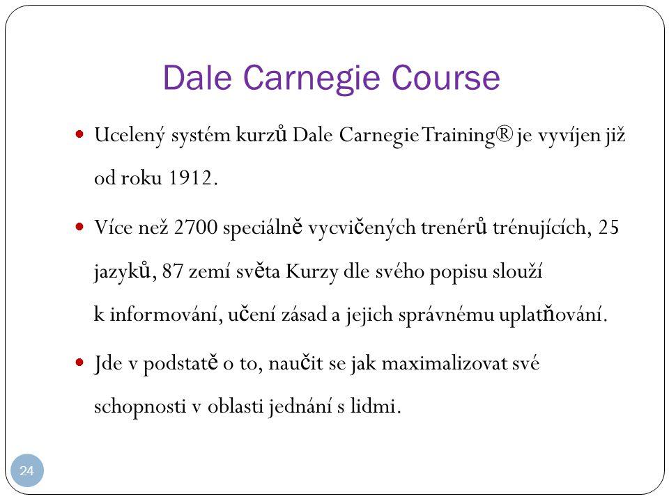 24 Dale Carnegie Course Ucelený systém kurz ů Dale Carnegie Training® je vyvíjen již od roku 1912.