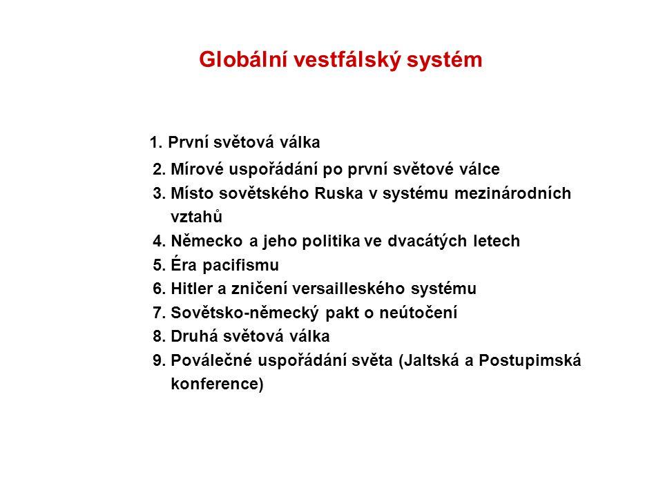 Globální vestfálský systém 1. První světová válka 2. Mírové uspořádání po první světové válce 3. Místo sovětského Ruska v systému mezinárodních vztahů