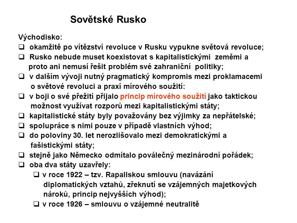Sovětské Rusko Východisko:  okamžitě po vítězství revoluce v Rusku vypukne světová revoluce;  Rusko nebude muset koexistovat s kapitalistickými země