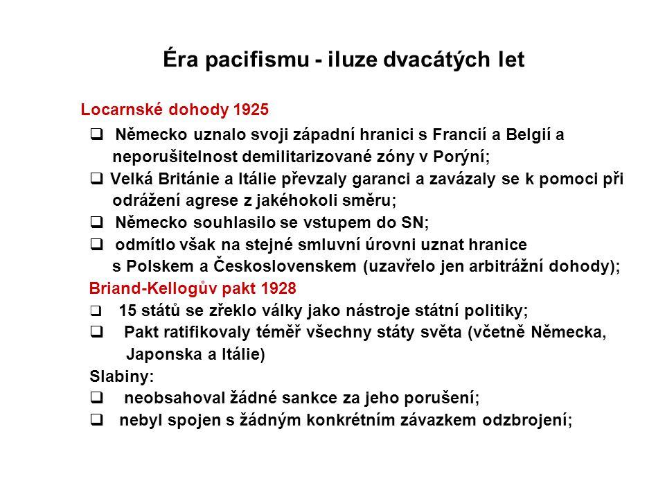 Éra pacifismu - iluze dvacátých let Locarnské dohody 1925  Německo uznalo svoji západní hranici s Francií a Belgií a neporušitelnost demilitarizované