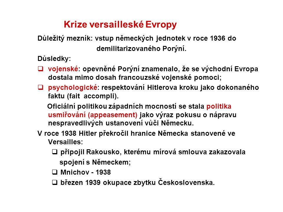 Krize versailleské Evropy Důležitý mezník: vstup německých jednotek v roce 1936 do demilitarizovaného Porýní. Důsledky:  vojenské: opevněné Porýní zn