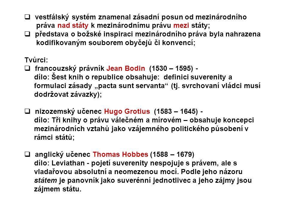 vestfálský systém znamenal zásadní posun od mezinárodního práva nad státy k mezinárodnímu právu mezi státy;  představa o božské inspiraci mezinárod