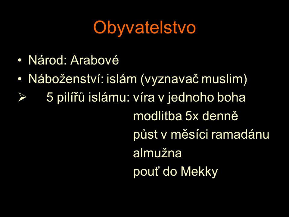 Obyvatelstvo Národ: Arabové Náboženství: islám (vyznavač muslim)  5 pilířů islámu:víra v jednoho boha modlitba 5x denně půst v měsíci ramadánu almužn
