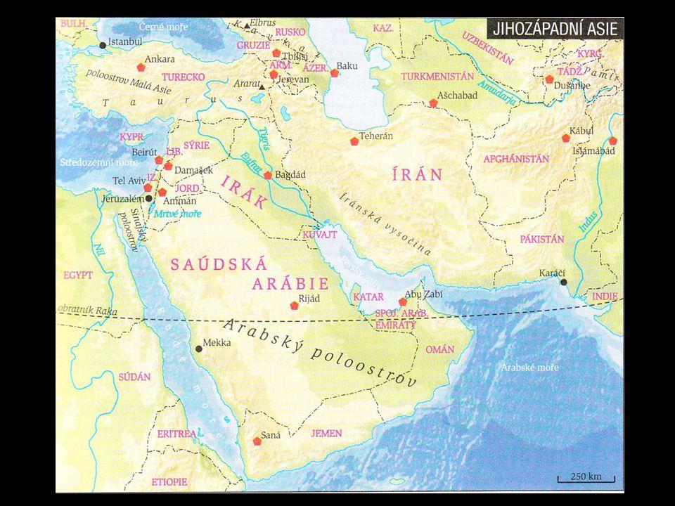 Stát:Hlavní město: IzraelTel – Aviv = evropský stát na asijské pevnině SýrieDamašek IrákBagdád Saúdská ArábieRijád JordánskoAmmán Spojené arabské emirátyAbú Zábí = arabské státy AfgánistánKábul IránTeherán TureckoAnkara GruzieTbilisi ArménieJerevan ÁzerbajdžánBaku =nearabské státy