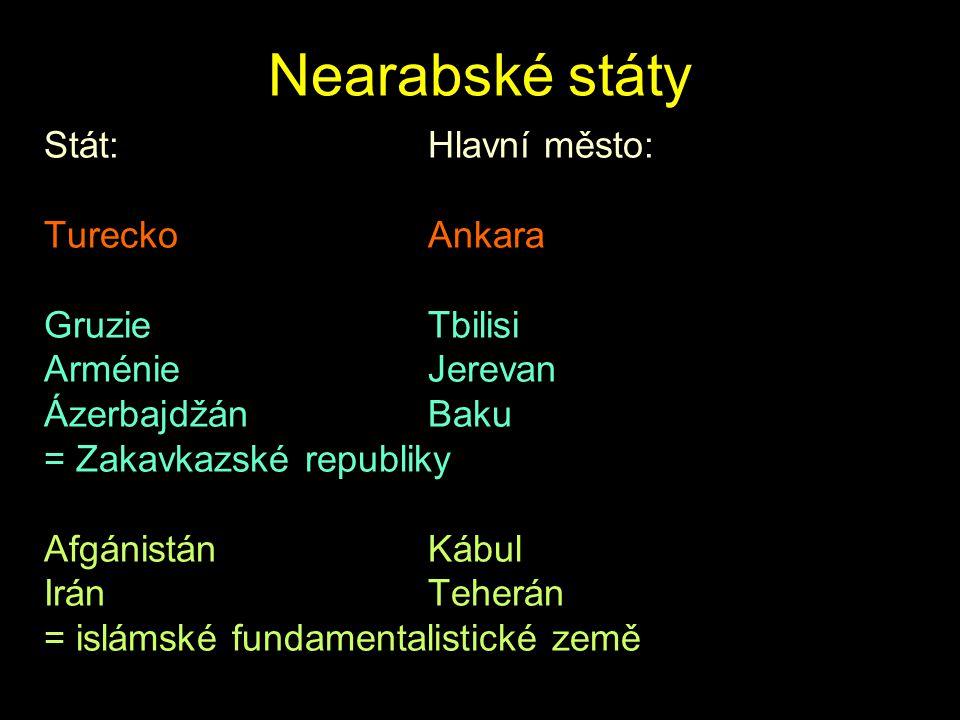 Nearabské státy Stát:Hlavní město: TureckoAnkara GruzieTbilisi ArménieJerevan ÁzerbajdžánBaku = Zakavkazské republiky AfgánistánKábul IránTeherán = is