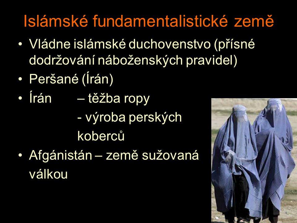 Islámské fundamentalistické země Vládne islámské duchovenstvo (přísné dodržování náboženských pravidel) Peršané (Írán) Írán– těžba ropy - výroba persk