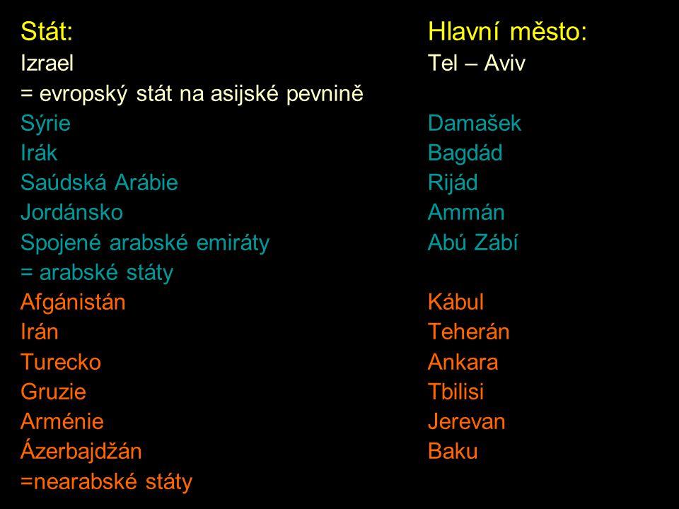 Stát:Hlavní město: IzraelTel – Aviv = evropský stát na asijské pevnině SýrieDamašek IrákBagdád Saúdská ArábieRijád JordánskoAmmán Spojené arabské emir