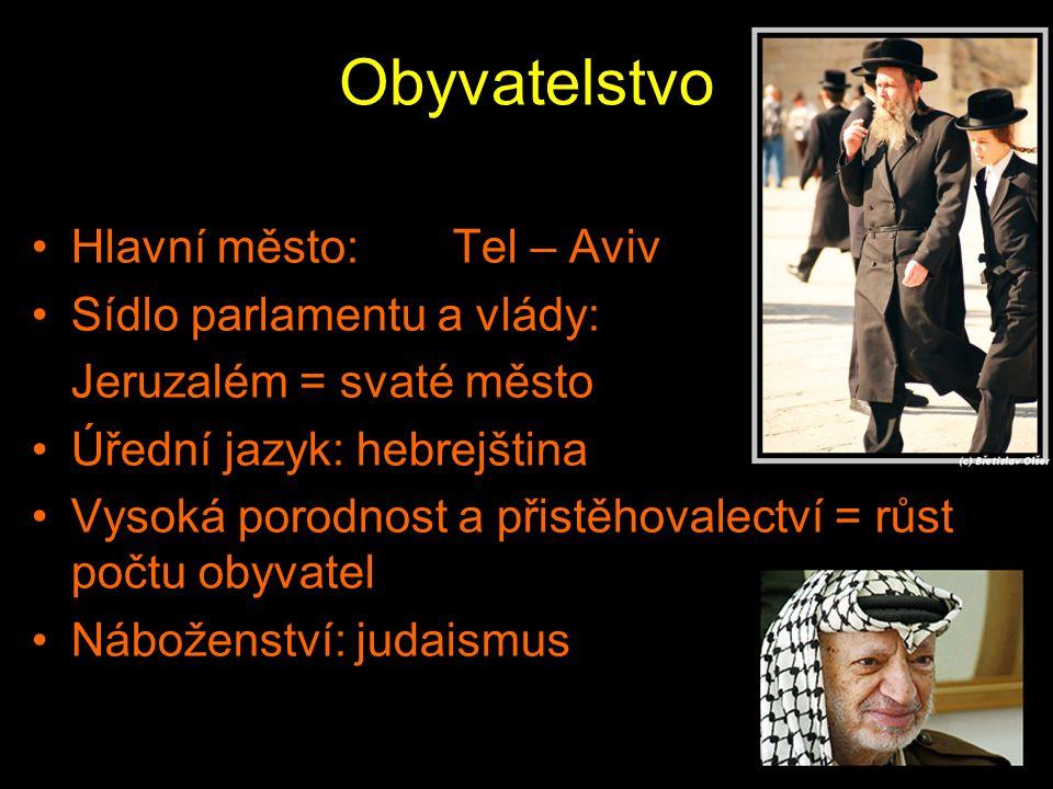 Obyvatelstvo Hlavní město:Tel – Aviv Sídlo parlamentu a vlády: Jeruzalém = svaté město Úřední jazyk: hebrejština Vysoká porodnost a přistěhovalectví =