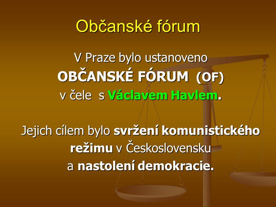 Občanské fórum V Praze bylo ustanoveno OBČANSKÉ FÓRUM (OF) v čele s Václavem Havlem.