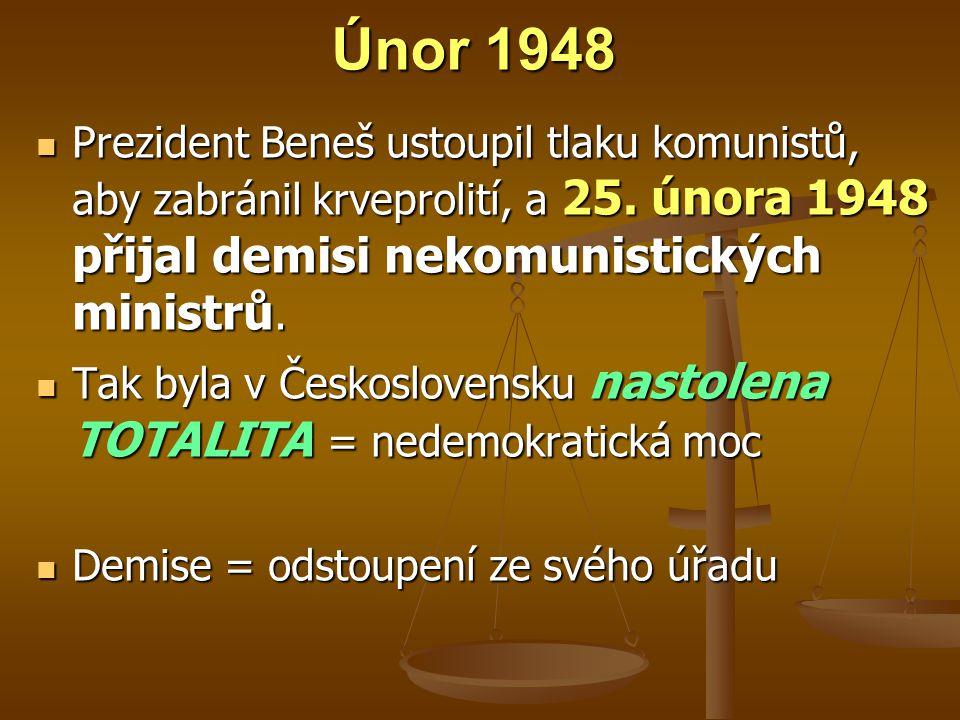Únor 1948 Prezident Beneš ustoupil tlaku komunistů, aby zabránil krveprolití, a 25.