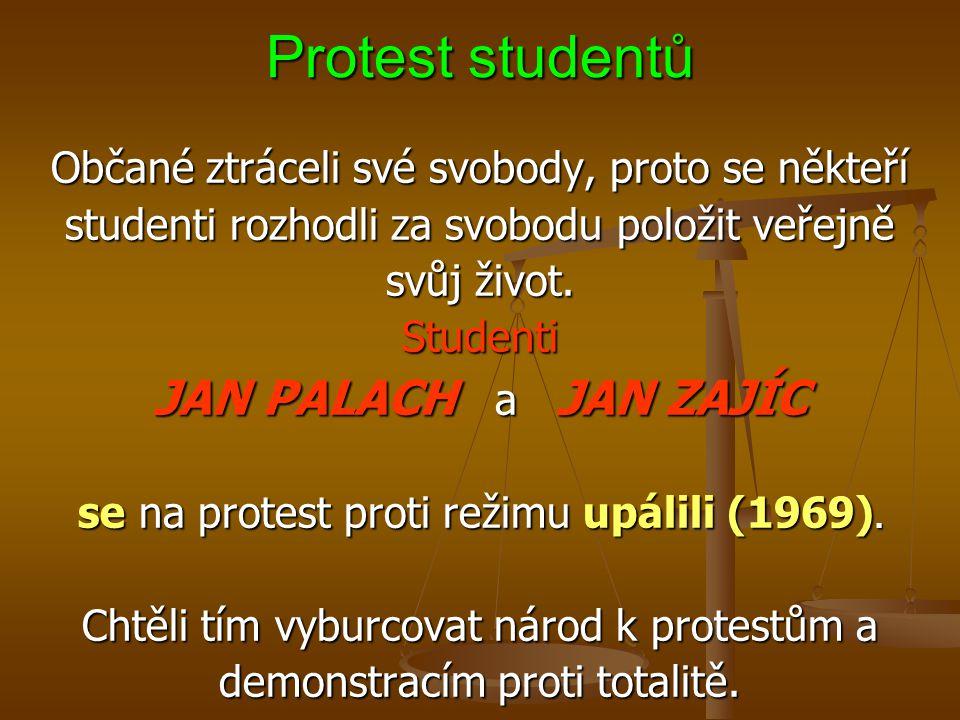 Protest studentů Občané ztráceli své svobody, proto se někteří studenti rozhodli za svobodu položit veřejně svůj život.