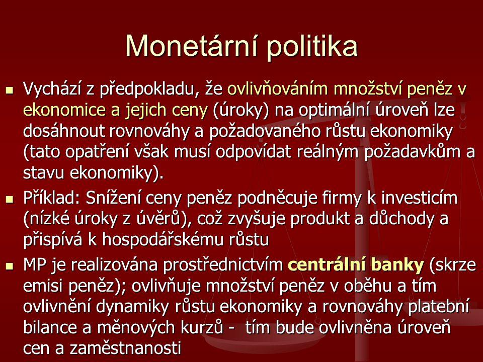 Monetární politika Vychází z předpokladu, že ovlivňováním množství peněz v ekonomice a jejich ceny (úroky) na optimální úroveň lze dosáhnout rovnováhy