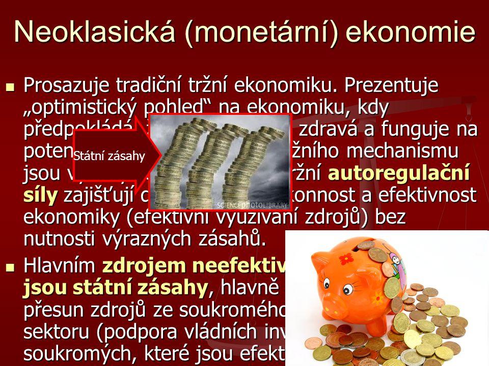 """Neoklasická (monetární) ekonomie Prosazuje tradiční tržní ekonomiku. Prezentuje """"optimistický pohled"""" na ekonomiku, kdy předpokládá, že ekonomika je z"""