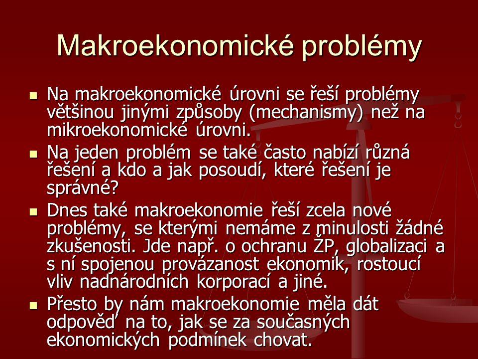 Makroekonomické problémy Na makroekonomické úrovni se řeší problémy většinou jinými způsoby (mechanismy) než na mikroekonomické úrovni. Na makroekonom
