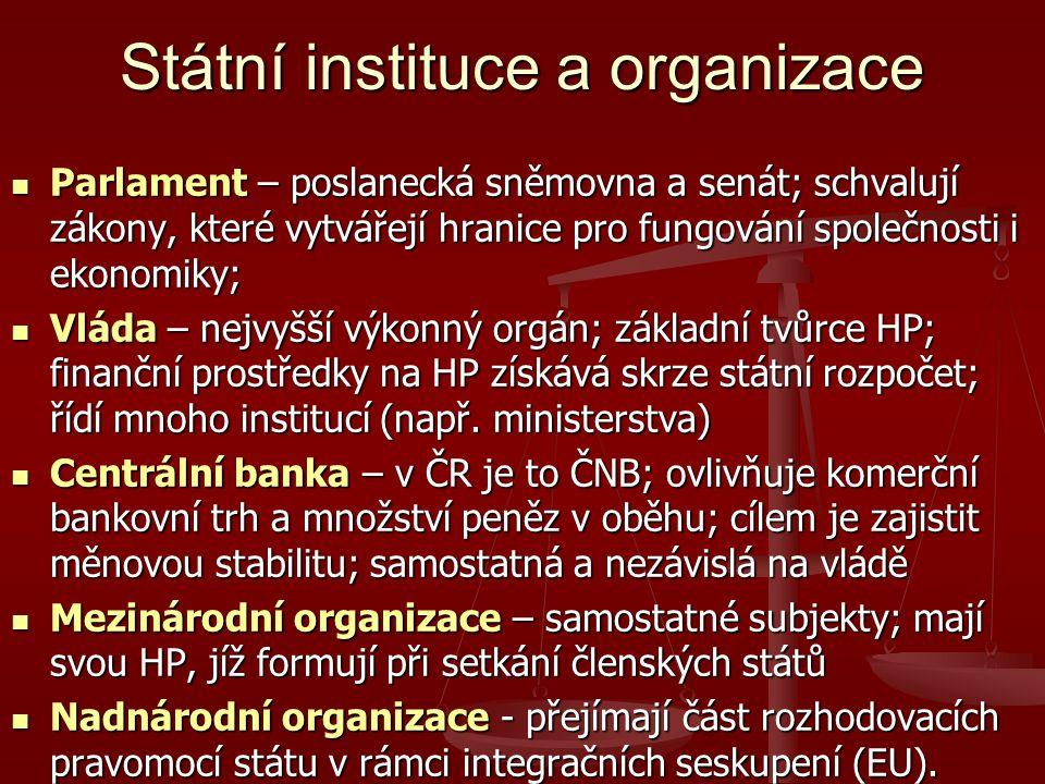 Státní instituce a organizace Parlament – poslanecká sněmovna a senát; schvalují zákony, které vytvářejí hranice pro fungování společnosti i ekonomiky