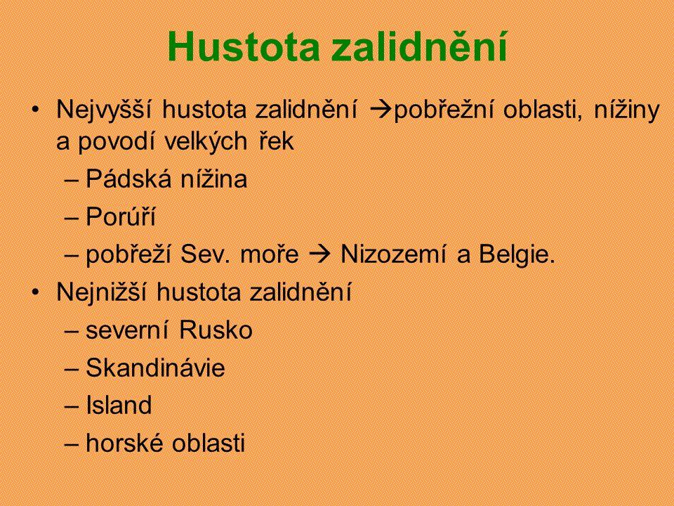 Hustota zalidnění v evropských státech (2004) StátHustota zal.Stát Hustota zal.