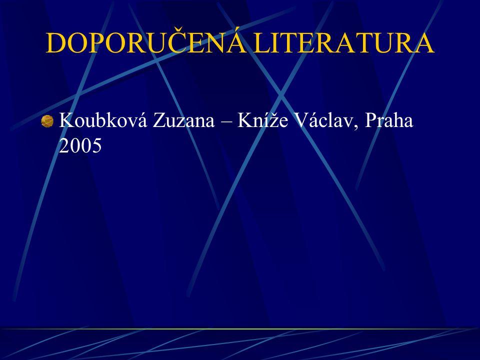 DOPORUČENÁ LITERATURA Koubková Zuzana – Kníže Václav, Praha 2005