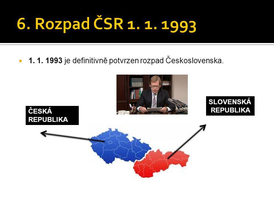  1. 1. 1993 je definitivně potvrzen rozpad Československa. SLOVENSKÁ REPUBLIKA ČESKÁ REPUBLIKA