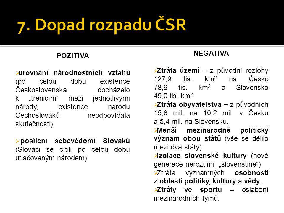 """POZITIVA  urovnání národnostních vztahů (po celou dobu existence Československa docházelo k """"třenicím"""" mezi jednotlivými národy, existence národu Čec"""