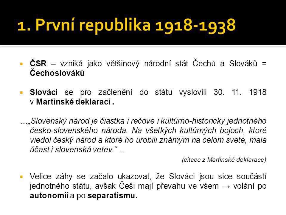  ČSR – vzniká jako většinový národní stát Čechů a Slováků = Čechoslováků  Slováci se pro začlenění do státu vyslovili 30. 11. 1918 v Martinské dekla