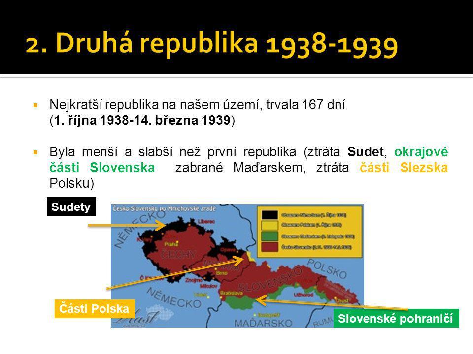  Nejkratší republika na našem území, trvala 167 dní (1. října 1938-14. března 1939)  Byla menší a slabší než první republika (ztráta Sudet, okrajové