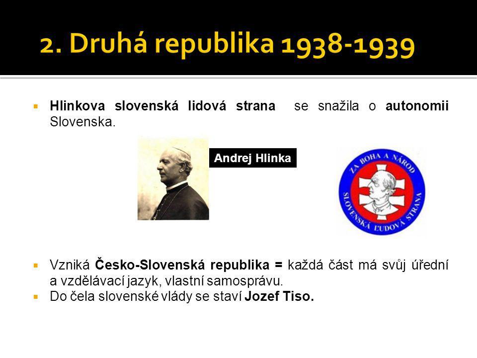  Hlinkova slovenská lidová strana se snažila o autonomii Slovenska.  Vzniká Česko-Slovenská republika = každá část má svůj úřední a vzdělávací jazyk