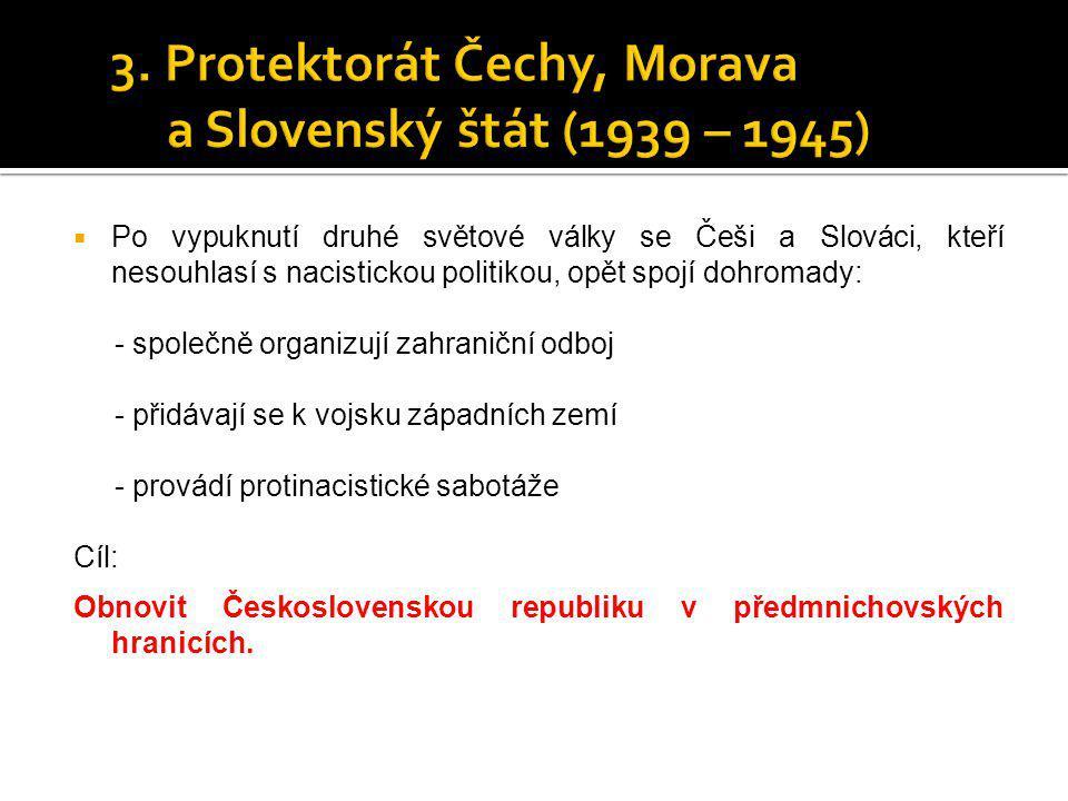  Po vypuknutí druhé světové války se Češi a Slováci, kteří nesouhlasí s nacistickou politikou, opět spojí dohromady: - společně organizují zahraniční
