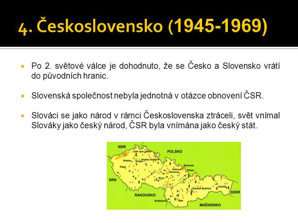  Po 2. světové válce je dohodnuto, že se Česko a Slovensko vrátí do původních hranic.  Slovenská společnost nebyla jednotná v otázce obnovení ČSR. 