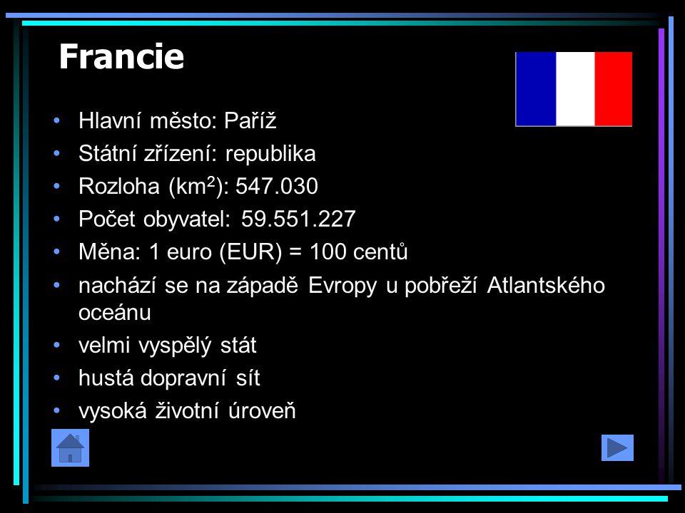 Francie Hlavní město: Paříž Státní zřízení: republika Rozloha (km 2 ): 547.030 Počet obyvatel: 59.551.227 Měna: 1 euro (EUR) = 100 centů nachází se na