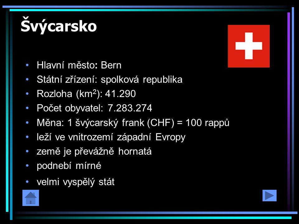 Švýcarsko Hlavní město: Bern Státní zřízení: spolková republika Rozloha (km 2 ): 41.290 Počet obyvatel: 7.283.274 Měna: 1 švýcarský frank (CHF) = 100