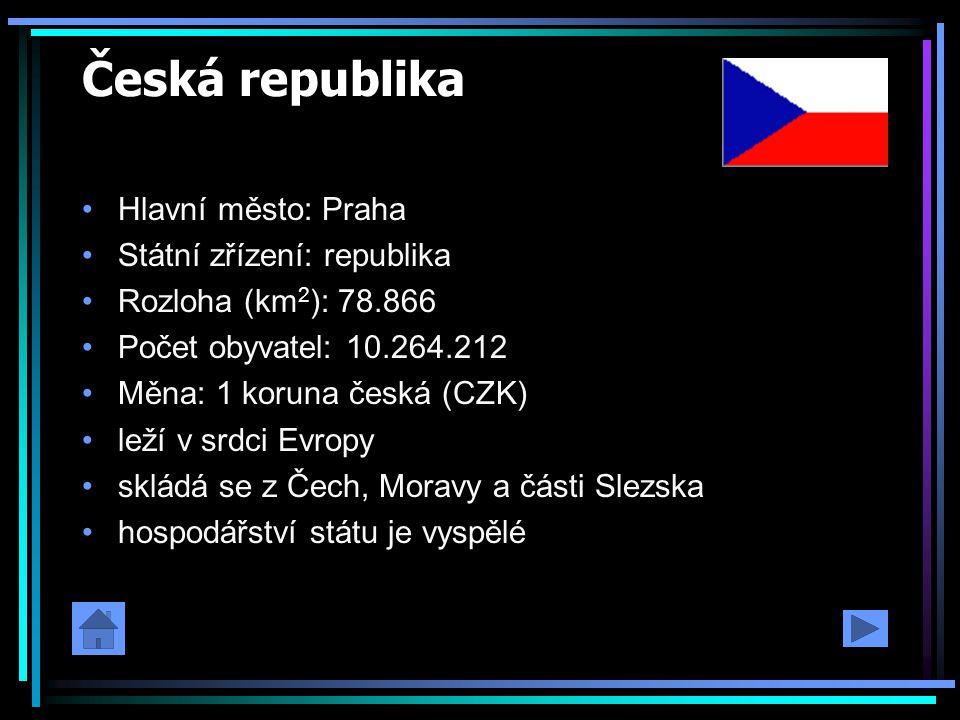 Česká republika Hlavní město: Praha Státní zřízení: republika Rozloha (km 2 ): 78.866 Počet obyvatel: 10.264.212 Měna: 1 koruna česká (CZK) leží v srd