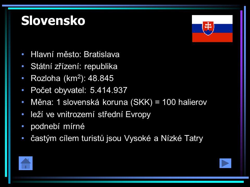 Slovensko Hlavní město: Bratislava Státní zřízení: republika Rozloha (km 2 ): 48.845 Počet obyvatel: 5.414.937 Měna: 1 slovenská koruna (SKK) = 100 ha