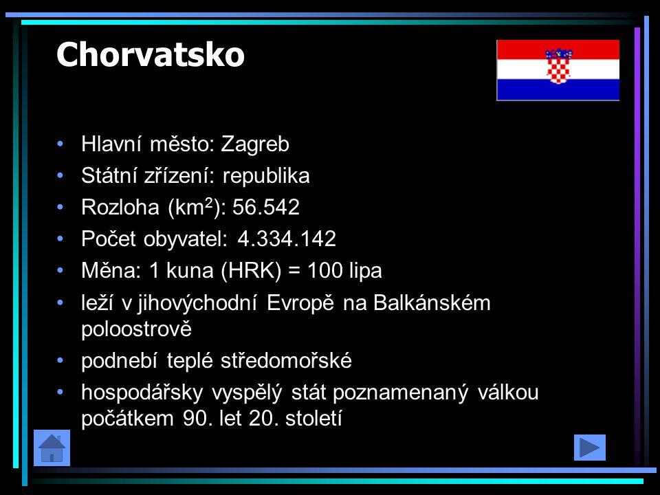 Chorvatsko Hlavní město: Zagreb Státní zřízení: republika Rozloha (km 2 ): 56.542 Počet obyvatel: 4.334.142 Měna: 1 kuna (HRK) = 100 lipa leží v jihov