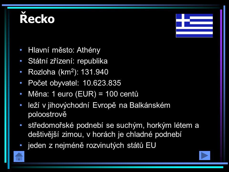 Řecko Hlavní město: Athény Státní zřízení: republika Rozloha (km 2 ): 131.940 Počet obyvatel: 10.623.835 Měna: 1 euro (EUR) = 100 centů leží v jihovýc