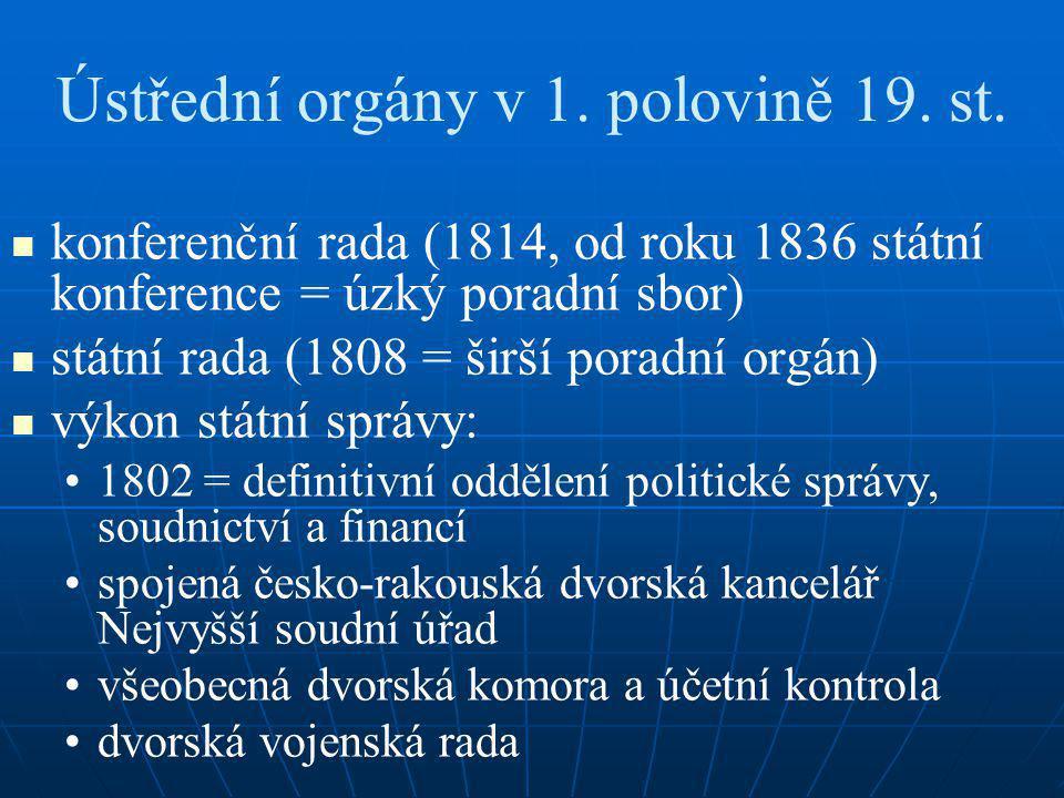 Ústřední orgány v 1. polovině 19. st. konferenční rada (1814, od roku 1836 státní konference = úzký poradní sbor) státní rada (1808 = širší poradní or